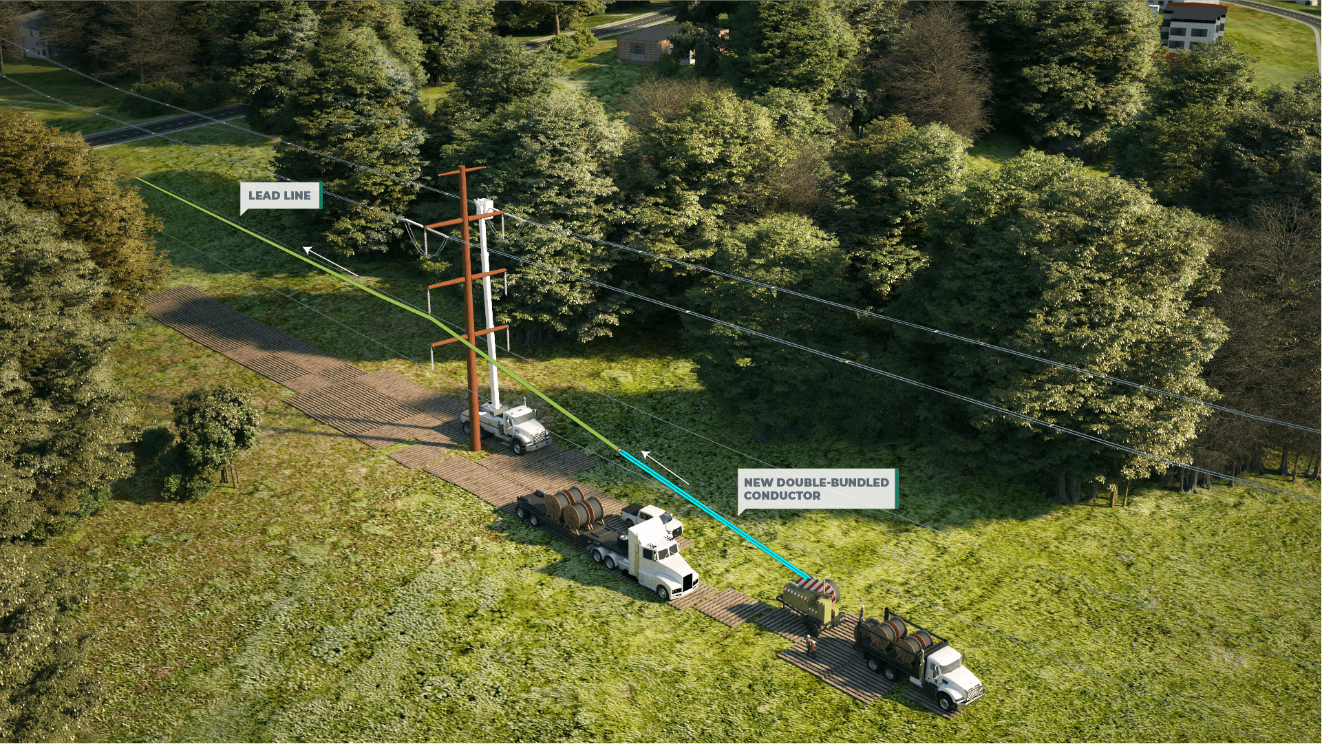 <h2>Step 3: Installation of New Conductor</h2>A Lead Line will be installed on the vacant transmission pole arms and will be utilized to pull new double-bundled conductor into place.