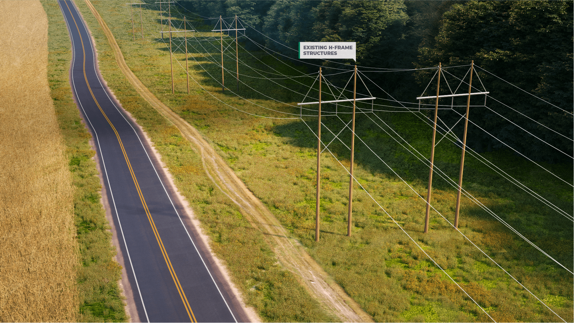<h2>Step 1: Existing Conditions</h2>Two existing single-circuit 115 kV wood H-frame transmission lines.