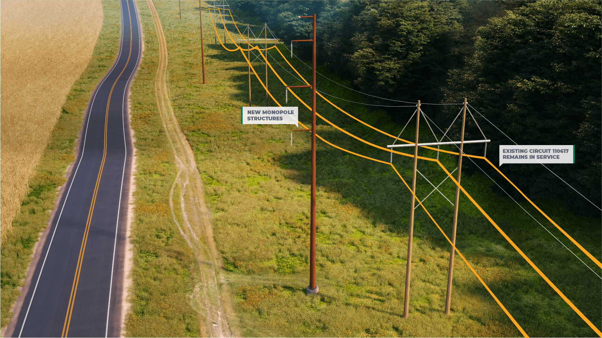 <h2>Step 2: Foundation and Structure Installation</h2>De-energize and remove existing circuit 110618. Install proposed foundations and structures. Existing circuit 110617 remains in service.