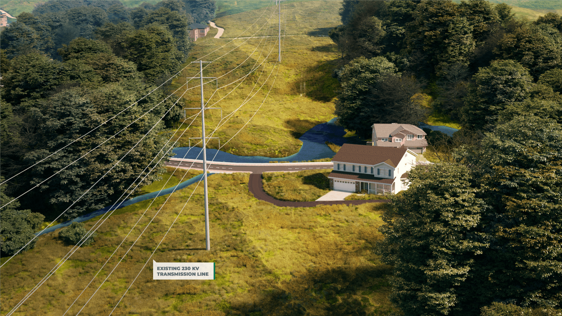 <h2>Step 1: Existing Conditions</h2>Existing 230 kV Double-Circuit transmission line.
