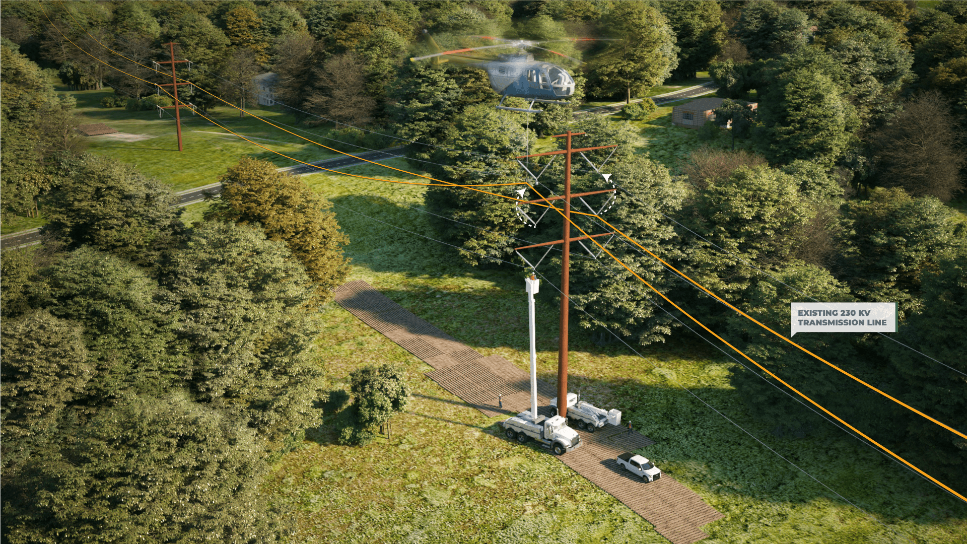 <h2>Step 2: Conductor Transfer</h2>Existing 230 kV Double-Circuit transmission line.